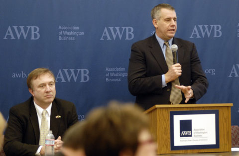 Sen. Doug Ericksen and Rep. Richard DeBolt (speaking)