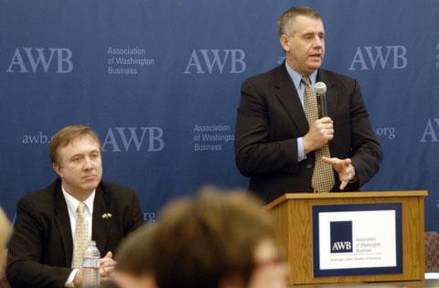 Sen. Doug Ericksen and Rep. Richard DeBolt (speaking)
