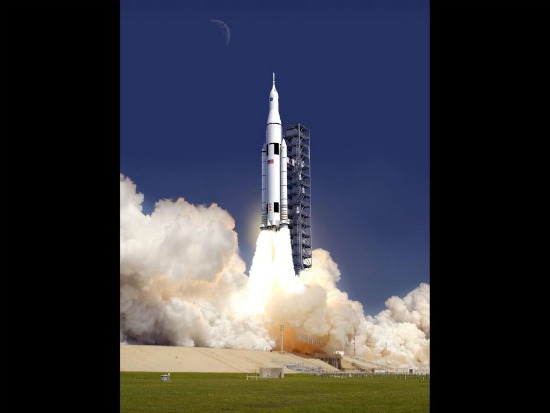 Artist rendering of the Space Launch System, or SLS rocket. Credit: NASA