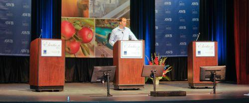 Debate Moderator  Austin Jenkins preparing,